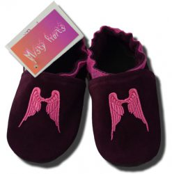 Chaussons cuir fille Ailes roses