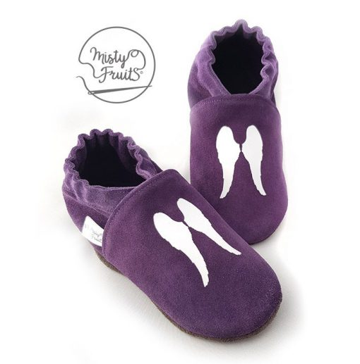 chaussons cuir souple enfants ailes blanches misty fruits