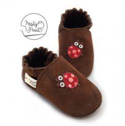 chaussons cuir souple enfants bébés adultes coccinelle rouge misty fruits