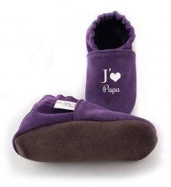 chaussons cuir souple bébé enfant j'aime maman j'aime papa