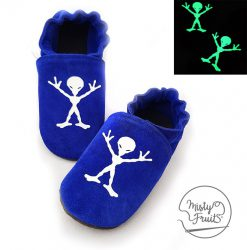 chaussons cuir souple enfants bébés adultes martien phosphorescent misty fruits