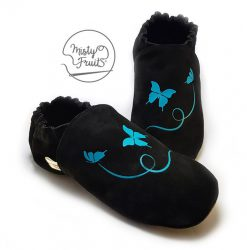 chaussons en cuir souple adulte papillons de nuit misty fruits