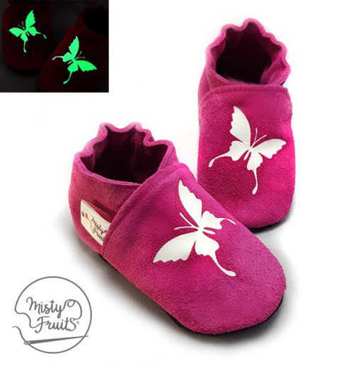 chaussons cuir souple enfants bébés adultes papillons phosphorescents misty fruits