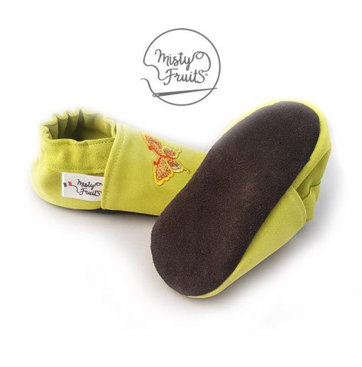 chaussons cuir souple enfants bébés adultes papillons scintillants misty fruits