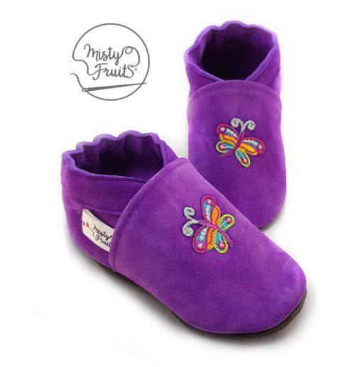 chaussons cuir souple bébé fille papillon de couleur misty fruits
