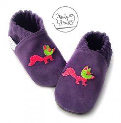 chaussons cuir souple bébé fille renard misty fruits