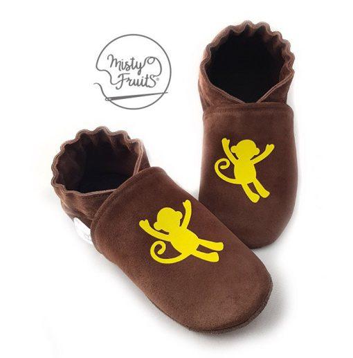 chaussons cuir souple bébé enfant garçon singe