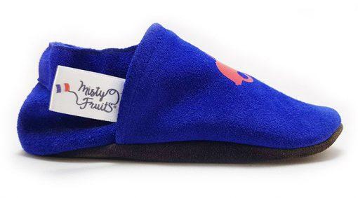 chaussons cuir souple bleu cerise misty fruits