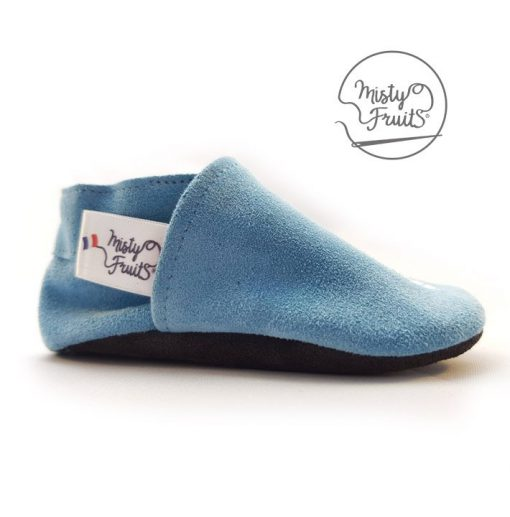 chaussons cuir souple bleu pastel misty fruits