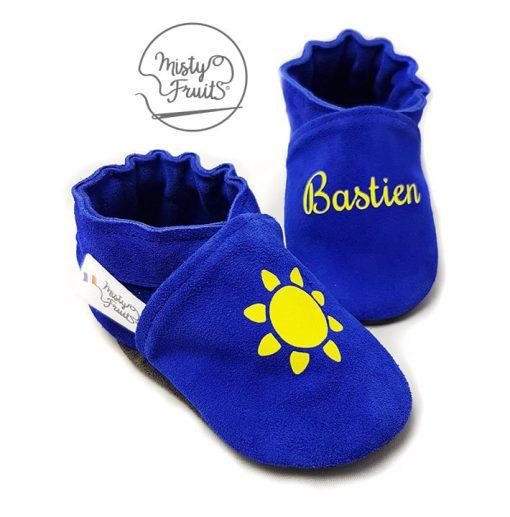chaussons cuir souple enfants prenom bleu citron misty fruits