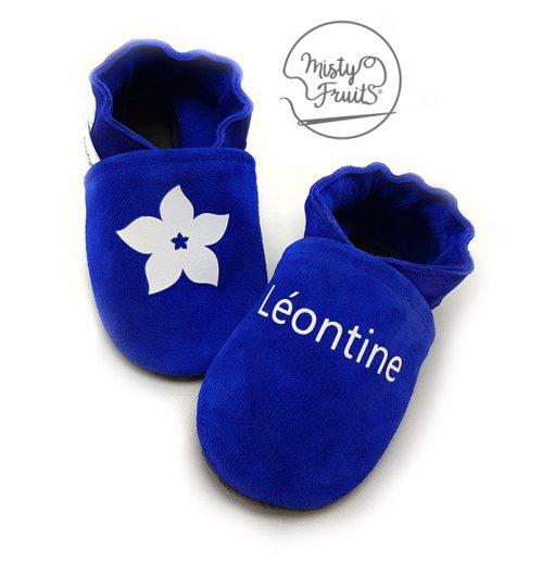 chaussons souple en cuir enfant personnalisé bleu