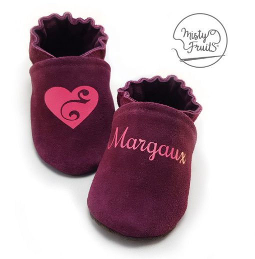 chaussons cuir souple cassis framboise misty fruits