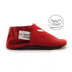 chaussons cuir enfant personnalisé rouge