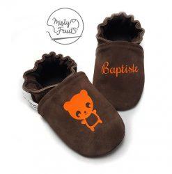 chaussons cuir souple personnalisés choco orange misty fruits