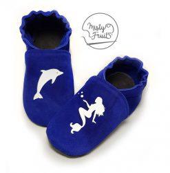 chaussons cuir souple bébé fille dauphin et sirène misty fruits
