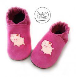 chaussons cuir souple bébé enfants cochon misty fruits