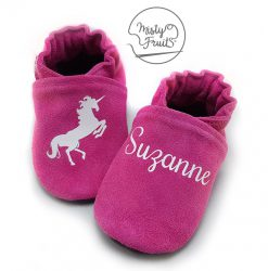 Chaussons cuir personnalisés framboise coco misty fruits