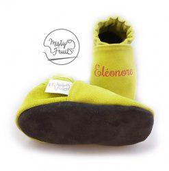 chaussons cuir souple bébés prenom prune framboise misty fruits