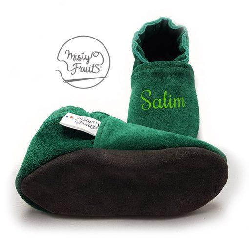 chaussons en cuir personnalisé vert