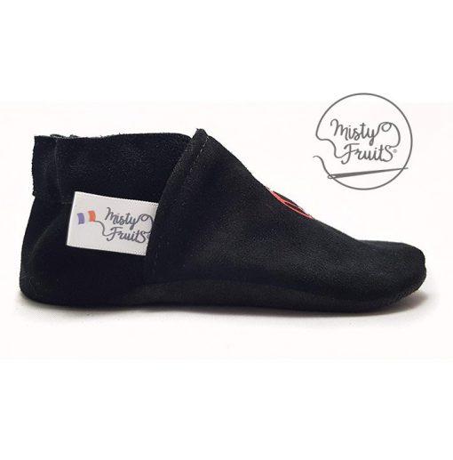 chaussons cuir souple noir rouge misty fruits