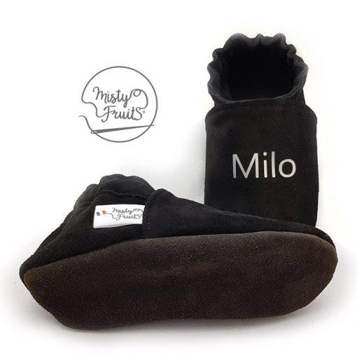 chaussons cuir souple noir metal mis