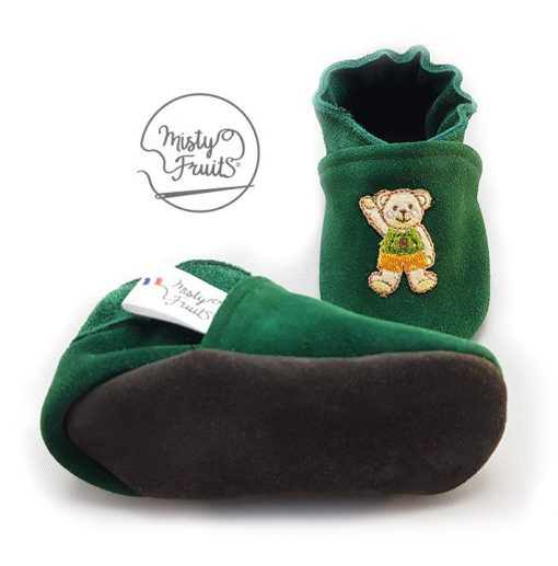 chaussons cuir souple nounours misty fruits