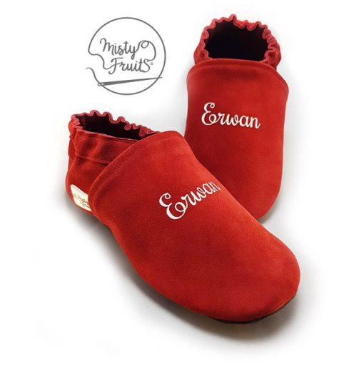 chaussons cuir souple rouge phosphorescent misty fruits