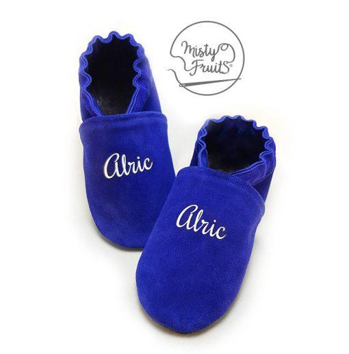 chaussons cuir souple bleu phosphorescent misty fruits