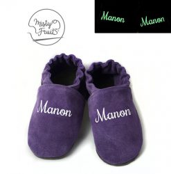 chaussons cuir souple enfants bébés adultes prenom phosphorescent misty fruits